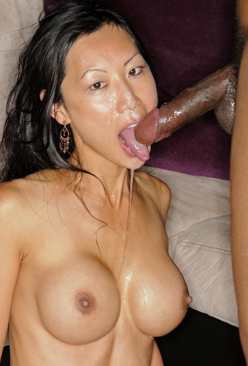 Asian girl deep throating giant cock consider, that